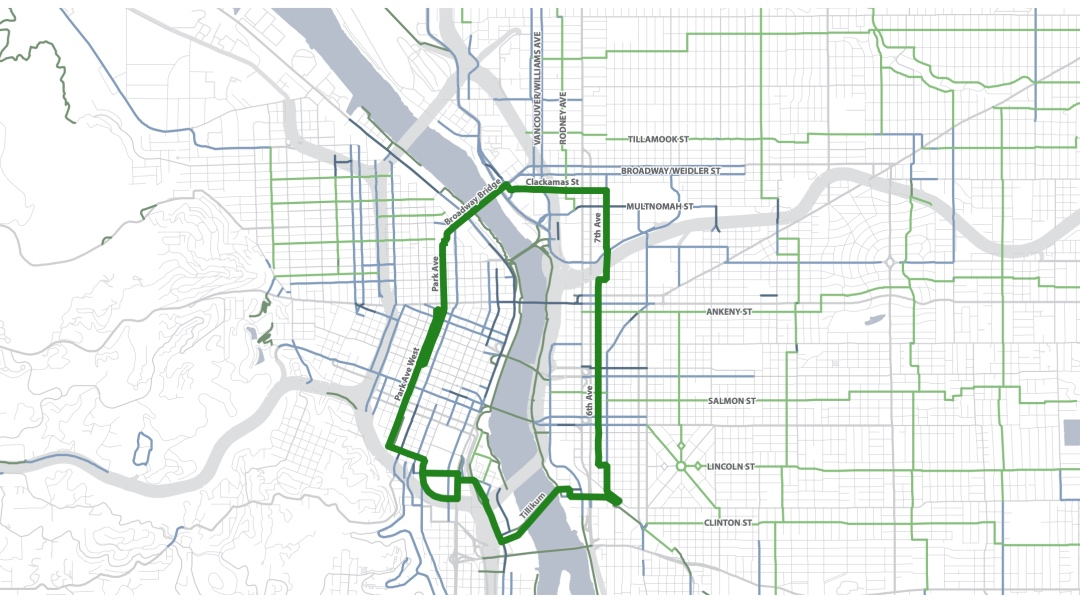 Schematic of the Green Loop overlayed with neighborhood Greenways