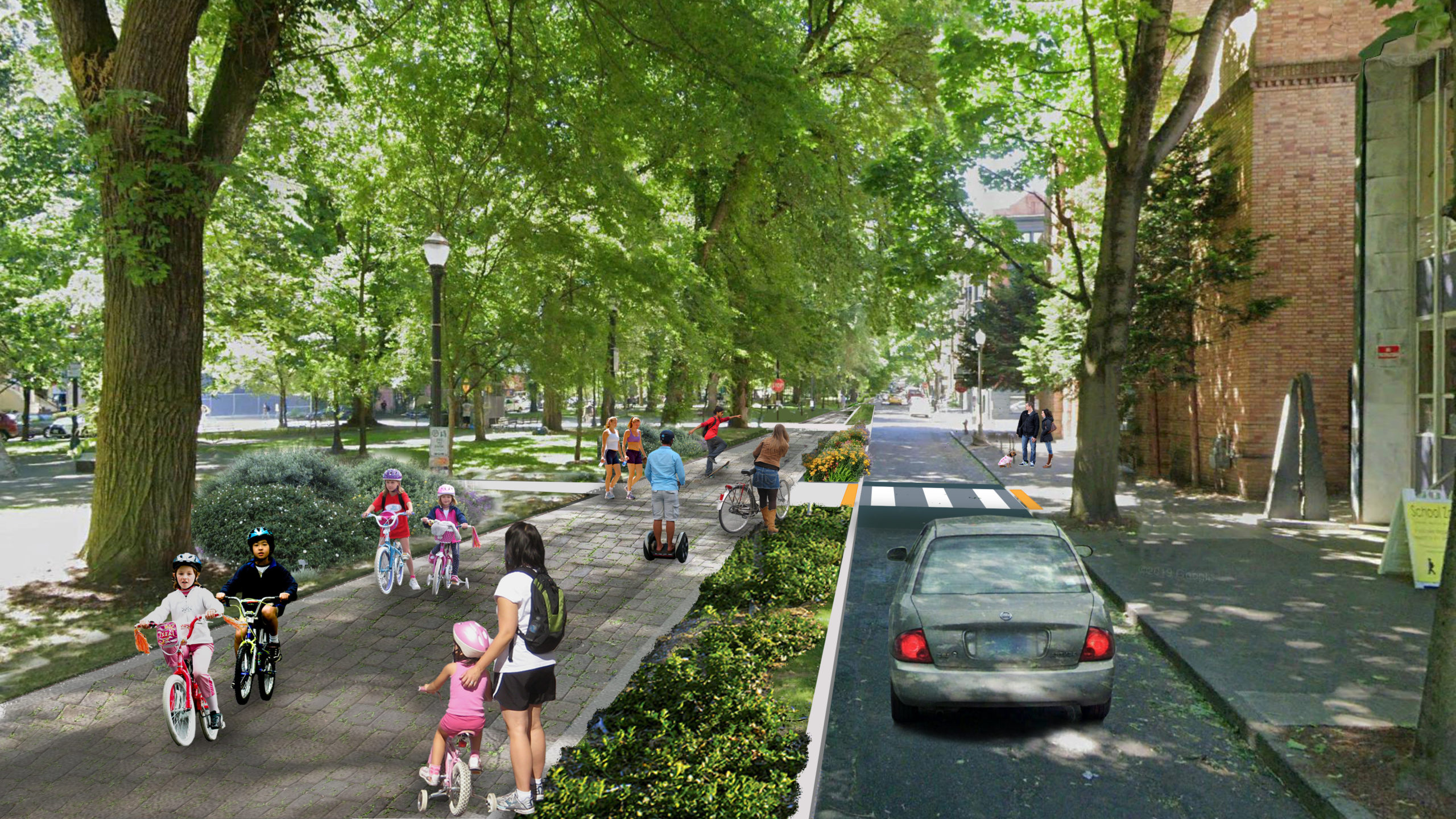Rendering of the South Park Blocks with the proposed alignment of the Green Loop looking South.